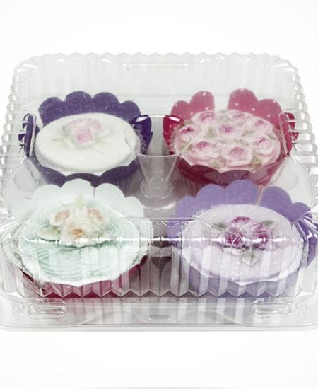 Caja de plástico para 4 cupcake Pack 10 Uds-0