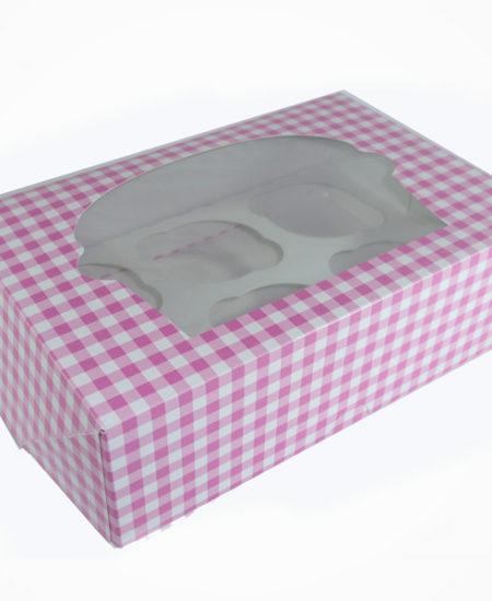 Caja Vichy Rosa para 6 cupcake Pack 10 Uds-0