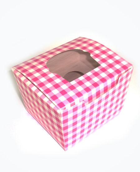 Caja Vichy Rosa para 1 cupcake Pack 10 Uds-0