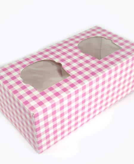 Caja Vichy Rosa para 2 cupcake pack 10 uds-0