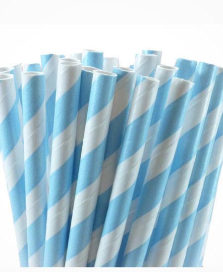 Pajitas de papel Rayas Celeste