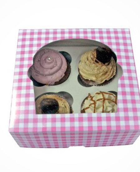 Caja Vichy Rosa para 4 Cupcakes · Pack 10 Uds-0