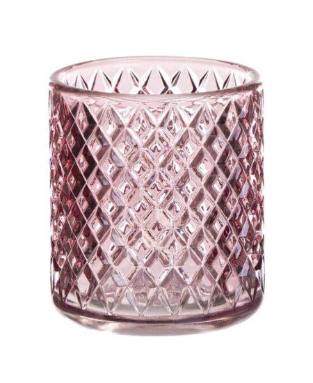 vaso portavela rosa